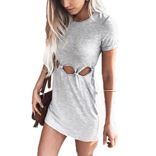 цены на yashangyi 6 Colors Summer Holes Dress Short Sleeve Hollow Out Women Bodycon Dresses Casual Solid O-Neck Cut Out Dress Robe Femme  в интернет-магазинах