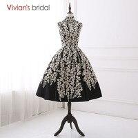 Vivian's Bridal High Neck Black Evening Dress Ball Gown Sleeveless Floral Print Stain Evening Gown 2018 Elegant Women Prom Dress