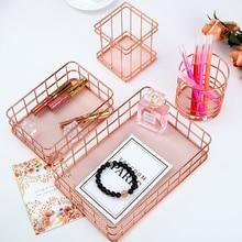 ins Bathroom Shelves Makeup Organizer Brush Pen Holder Storage Basket Wire Mesh Desktop Table Toiletries