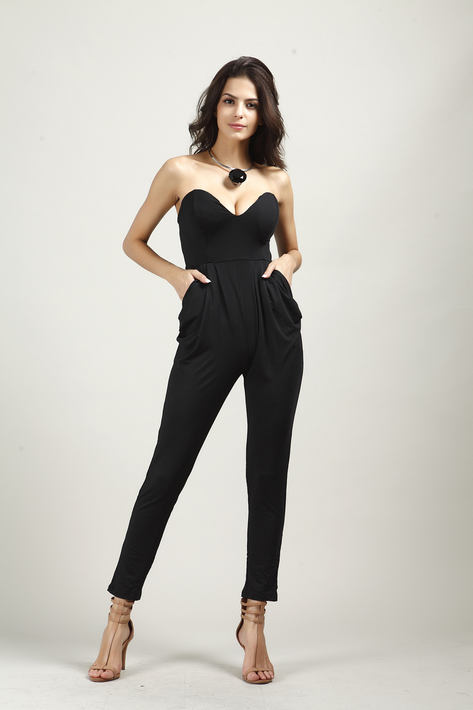 Комбинезоны женские s комбинезон сексуальные белые черные тонкие брюки боди без рукавов без бретелек женские jumspuit Macacao Feminino комбинезоны - Цвет: Black