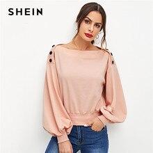 SHEIN Rosa Oficina señora Highstreet botón detalle linterna manga sólida sudadera  2018 otoño mujeres elegantes jerseys sudaderas b98511f926d