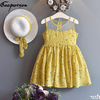 Girls Dress HAT 2 Pcs Baby Girl Summer Dress For Kids Girl Outfits Yellow Floral Dress
