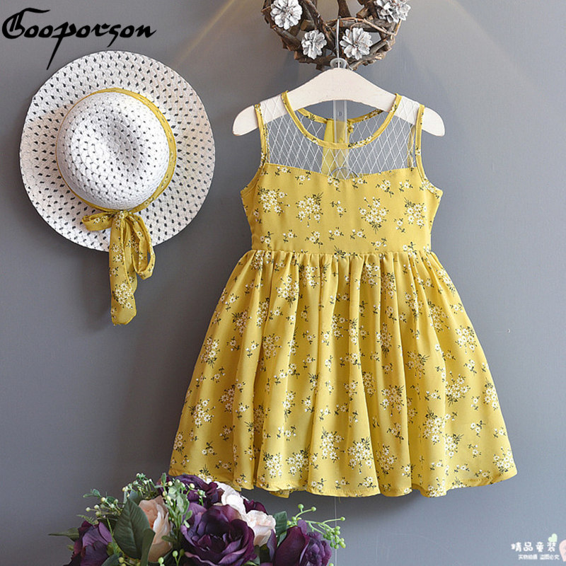 Girls dress + HAT 2 pcs Baby Girl Summer Dress For Kids Girl Outfits Yellow Floral Dress Fashion Sweet Princess kids clothes skmei men watch sport altimeter pressure thermomet weather pedometer calories compass multifunction led digit wrist watches men