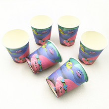 10pcs/lot Paper Cup Trolls Kids Birthday Party Supplies Baby Shower Event Decoration Set For