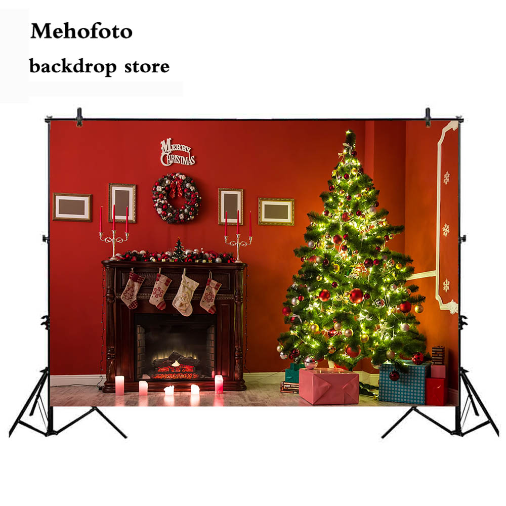 Us 8 84 39 Off Mehofoto Merry Christmas Backdrop Decoration Props Fireplace Photo Background Red Wall Photography Backdrops Supplies 104 In