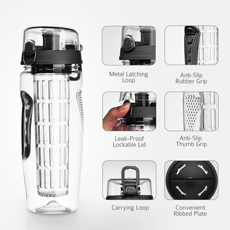 1L Portable water bottle Tritan Drinkware Bottle Fruit Infuser Bottle Juice Shaker travel Sport Water Bottle detox bottle
