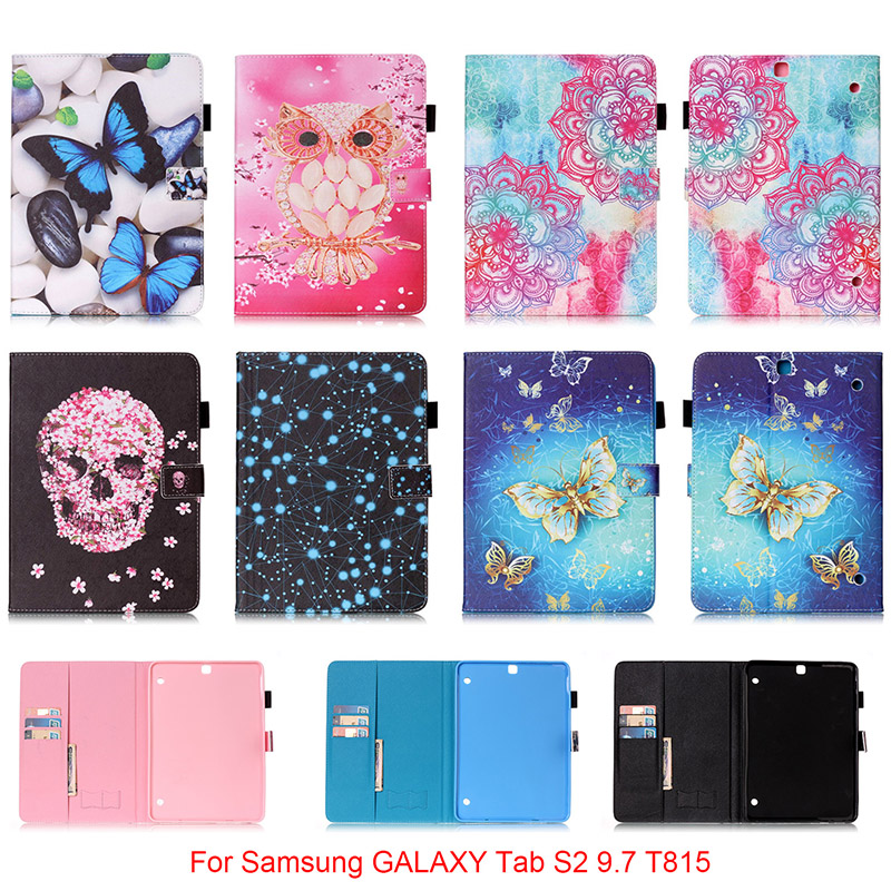 For Samsung GALAXY Tab S2 9.7 T815 T815C Case Owl Mandala Butterfly Skull Flower Pattern PU Leather Tablet Back Cover Funda