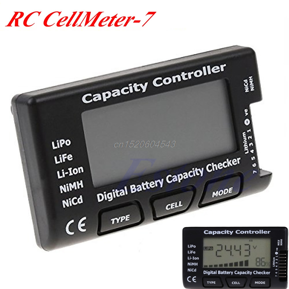 CellMeter-7 Digital Battery Capacity RC Checker For LiPo LiFe Li-ion Nicd NiMH R02 Drop ship tec 02 battery capacity testing instrument nicd and nimh lithium iron battery mobile power measuring instrument