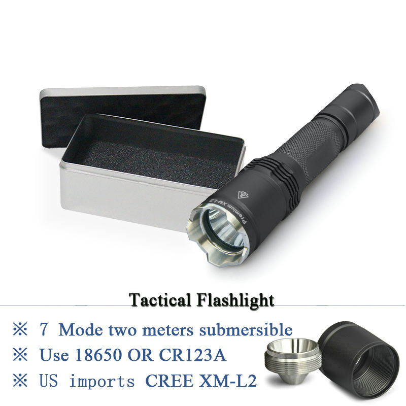 tactical flashlight cree xm l2 led flashlight 18650 IPX-8 Waterproof torch lanterna Military hunting flash light torch linterna 7 mode tactical flashlight cree led linternas xm l2 torch ipx 8 waterproof cr123a or 18650 rechargeable battery hunting lights