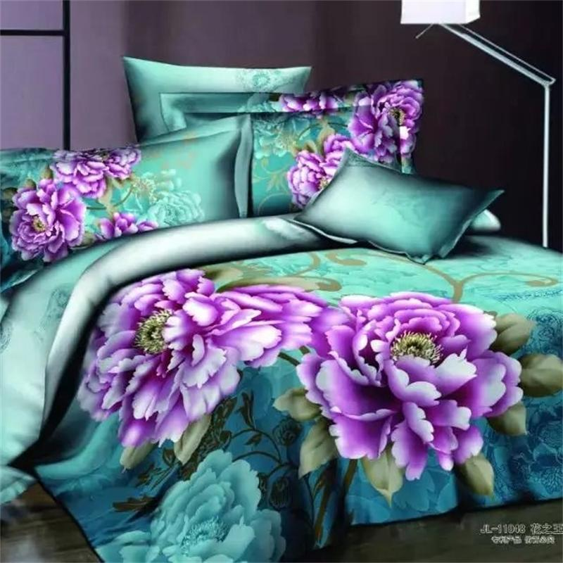 Oriental Purple Peony Flowers Bedding Set 4pcs Queen Size Pure Cotton Vintage Floral Duvet Cover Flat Sheets with Pillow Cases