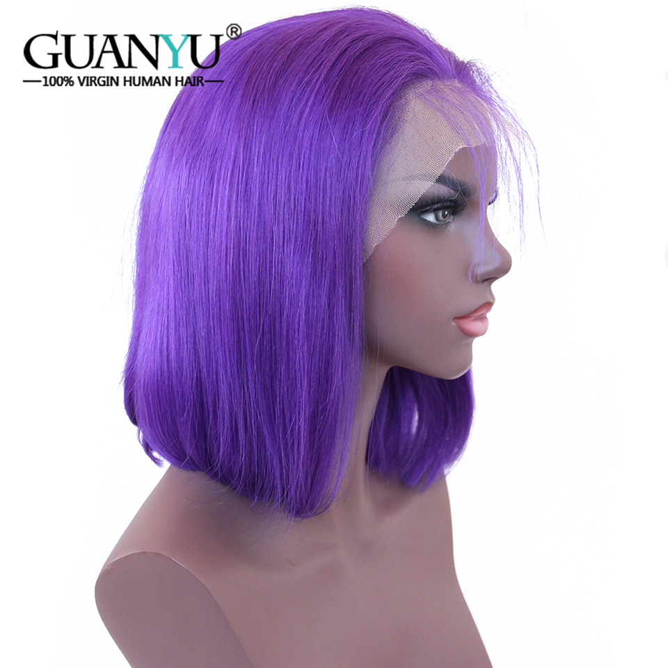 Guanyuhair Bob-Wig Wigs Short Lace-Front Pre-Plucked Purple Black-Women Remy Malaysian