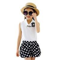 Hot Girls Summer Clothing Sets 2017 New Chiffon Fashion Dot Print T Shirts Shorts 2pcs Baby