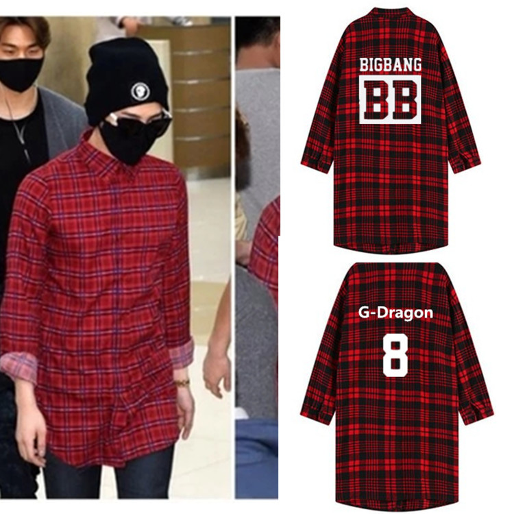 <font><b>kpop</b></font> <font><b>bigbang</b></font> harajuku long section of the Spring Autumn plaid women jacket k-pop big bang made red plaid long-sleeved tops shirt image
