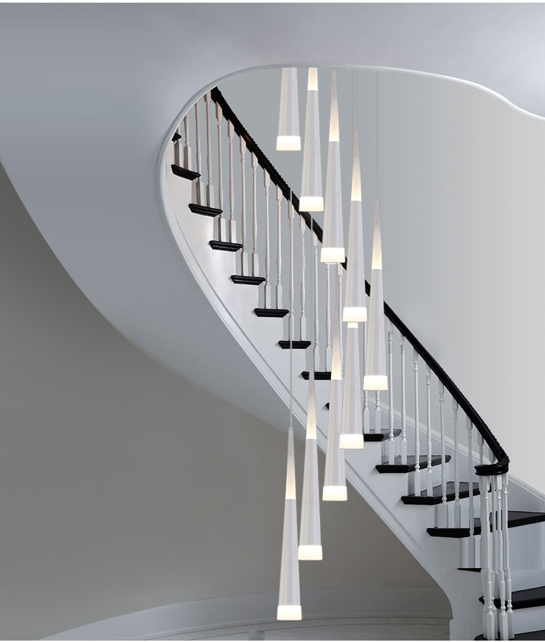 Hotel LED Luminaria Aluminum Pendant Lights Modern Stairway Led Cone  Hanging Light Hotel Long Black Spiral Stair Lighting Lustre In Pendant  Lights From ...