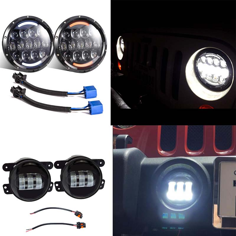 105W 7 inch Round led headlight with White/Amber turn signal DRL + 4INCH Auto led Driving lamp fog light for Jeep Wrangler JK 2pcs car led headlight kit led bulb d33 h11 free canbus auto led lamps white headlamp with yellow light fog light for citroen c4