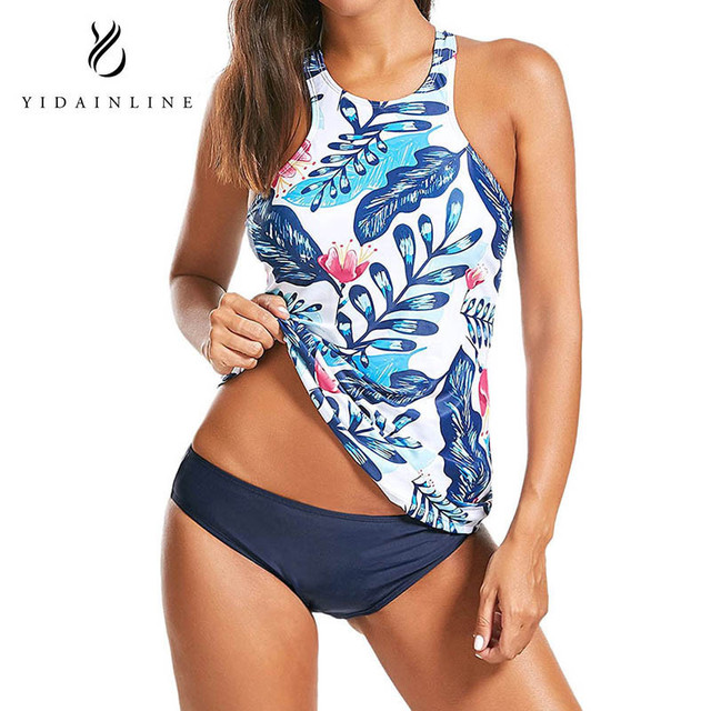 US $10 79 10% OFF|YIDAINLINE Bathing Suits For Women Tankini Swimsuits For  Women High Neck Halter Floral Womens Swimsuits -in Body Suits from Sports &