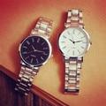 Nuevo Diseño de acero inoxidable reloj de Los Hombres simples Mujeres de La Manera delgada ocasional Pareja relojes de cuarzo-reloj de los deportes al aire libre a prueba de agua