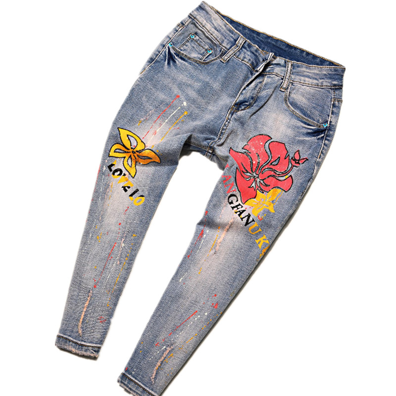 16 Russia USA France Painted Graffiti Washed Hole Spliced Colored Stretch Jeans Personality Female Youth Trousers Punk pants
