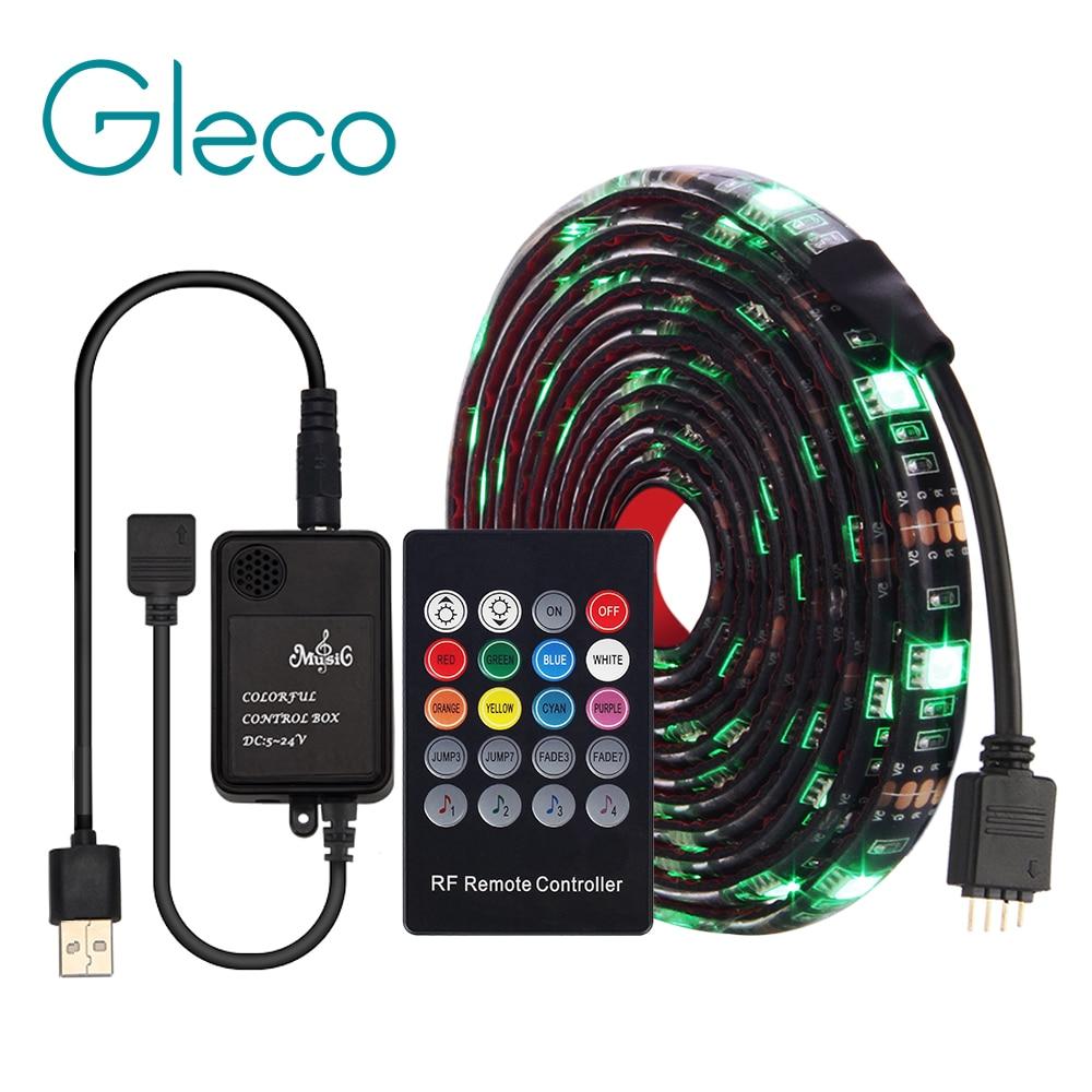USB LED Strip 5050 RGB With Music Controller 20Key RF Remote 50/100/200CM Flexible Light TV Background Lighting Set