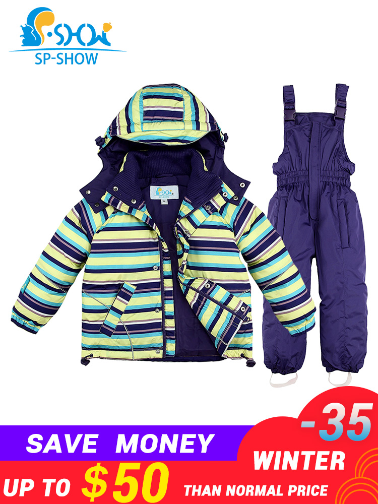 2019 SP SHOW  35 degree russia Winter Children's Outwear boy snow suit thick jackets Kids clothing girls ski jacket suit set -in Clothing Sets from Mother & Kids