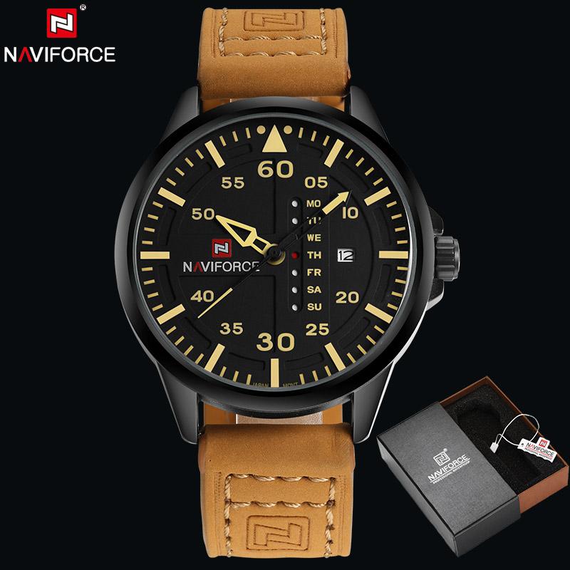 Prix pour Naviforce d'origine marque de luxe armée militaire montres à quartz hommes heure horloge sport en cuir montre-bracelet relogio masculino