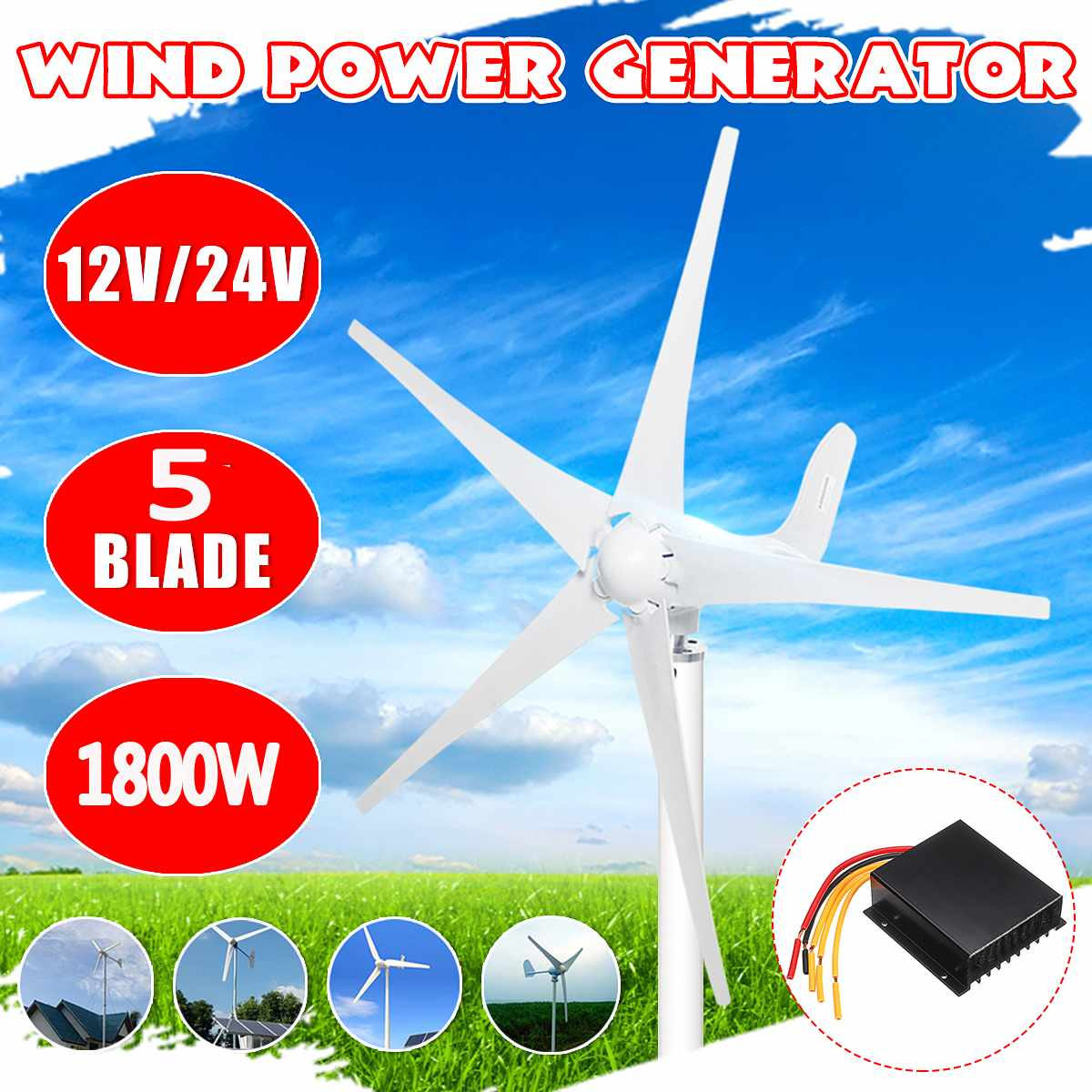1800W Wind Power Turbines Generator 12V 24V 3/5 Wind Blades Option With Waterproof Charge Controller Fit for Home Or Camping1800W Wind Power Turbines Generator 12V 24V 3/5 Wind Blades Option With Waterproof Charge Controller Fit for Home Or Camping