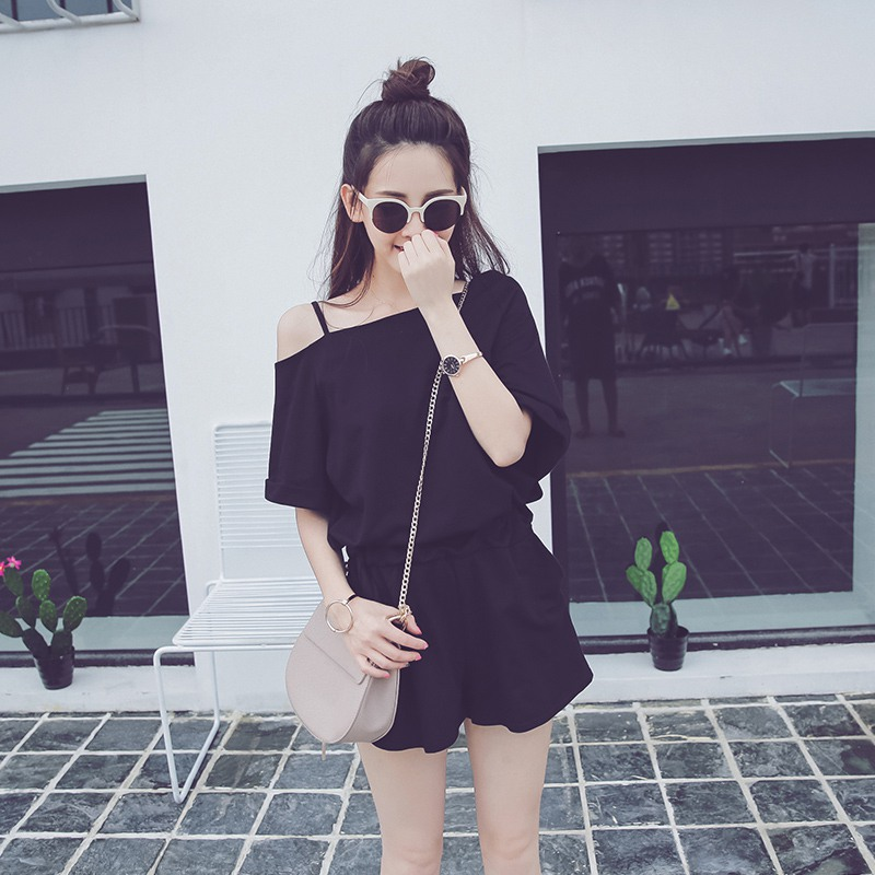 women jumpsuit sexy short sleeve solid Cold Shoulder tunic rompers playsuits Loose Women Playsuits 2018 summer