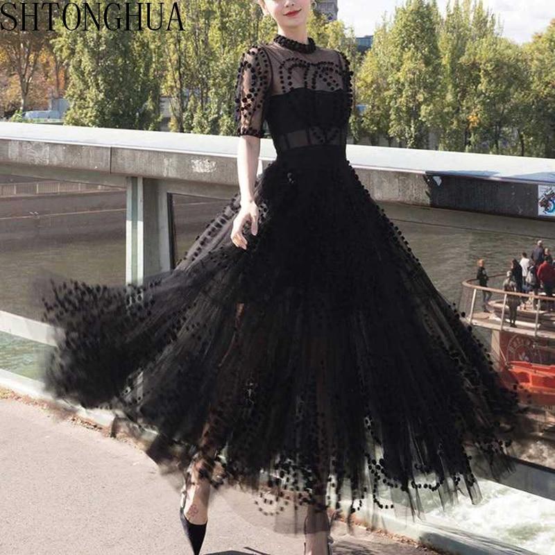 SHTONGHUA Runway Women Mesh Ball Gown Party Long Dress 2019 Spring Sexy Black Ball Short Sleeve