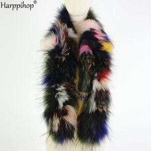 Image 4 - 2019 Phụ Nữ Mới Chính Hãng dệt kim Cáo Khoác Nỉ Thật Cổ Lông Mùa Đông Ấm Cổ Ấm bạc Fox màu hỗn hợp khăn 130 cm