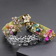 Leaf rhinestone geometric water drop headband Baroque fashion personality rhinestone flower wild geometric headband  858