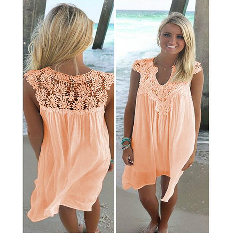 Womens 2017 new summer dresses pure color lace stitching loose dress Short-sleeved summer chiffon beach dress LD162