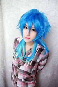 Image 4 - Dramatical Murder DMMD Seragaki Aoba Wig Ombre Blue Heat Resistant Synthetic Hair Cosplay Wigs + Wig Cap