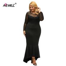 SEBOWEL Pluz Size Long Sleeve Women Bodycon Maxi Party Dress Hi-low Hem Mermaid Oversize Dresses Black/Red XL-XXXL