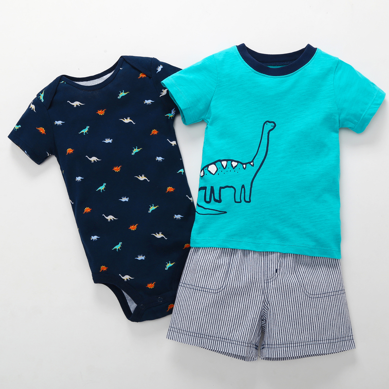2018 summer clothing set cotton baby boy romper+dinosaur print o-neck T-shirt+shorts 3pcs suit for 0-24m Toddler newbron baby