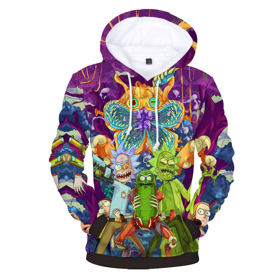 Rick and Morty Printed Hoodies Spring Autumn Winter Long Sleeved Hooded Tops Casual Hip Pop Pullover Punk Men/Women Sweatshirt
