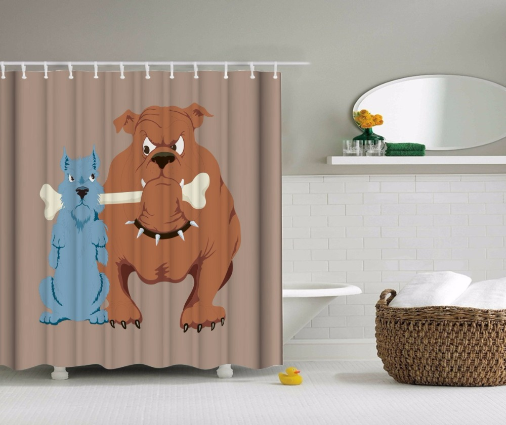 Dog cat bathroom shower curtains waterproof polyester - Rideau de douche polyester ...