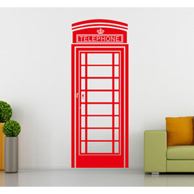 Telephone Booth Wall Sticker Fashion Morden Style London Famous Classical Living Room Home Decor Cabinet Wallpaper MeleStore