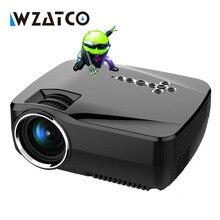 WZATCO gp70 1600 lúmenes Android 4.4 Wifi Bluetooth de Cine En Casa Portátil LCD LLEVÓ el mini Proyector Del HD 1080 P Proyector Projetor Beamer