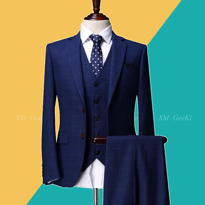 High Quality 2018 Blue Plaid Suit Male Groom Dress Suits Set Men's Spring 3 Piece Suits Men For Wedding (Jacket/ Vest/ Pant)