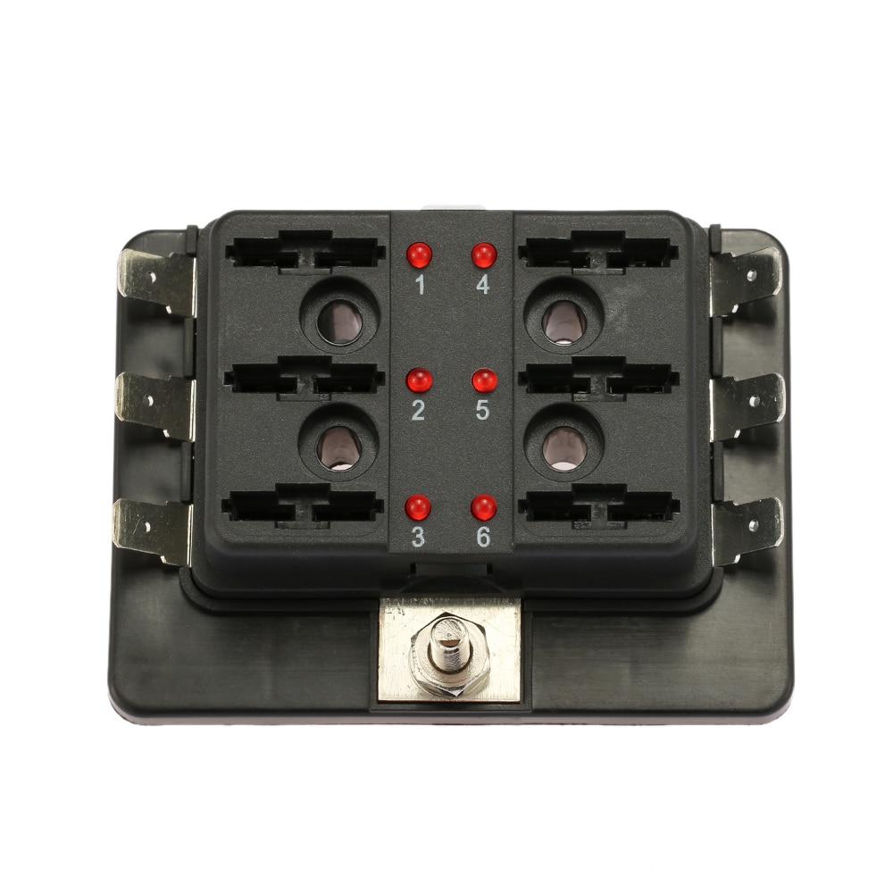 6 Via Lama Fuse Box Holder con LED Luce D'avvertimento Kit per Auto Barca  Marine Trike 12 V 24 V