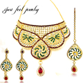 Kundan chapado en oro de lujo joyería nupcial conjuntos de collar de la joyería étnica india 3 unids choker tocado para las mujeres regalo