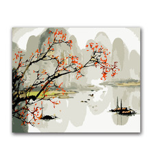 chinese Ink painting Mountains and water picture  coloring by numbers with kits on canvas pictures s