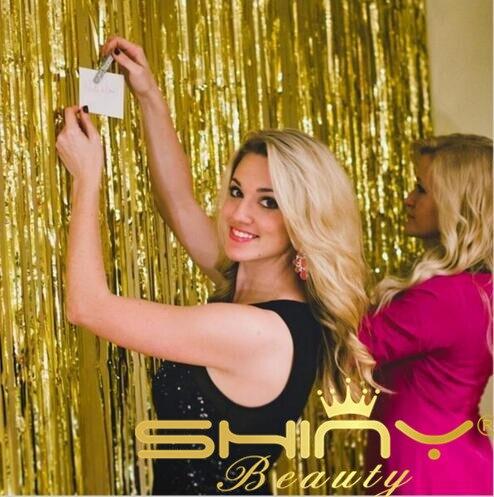 ShinyBeauty 3x8ft Gold Tinsel Foil Fringe Curtain For Christmas/Birthday/Wedding Decoration-92cm x 245cm-&ar