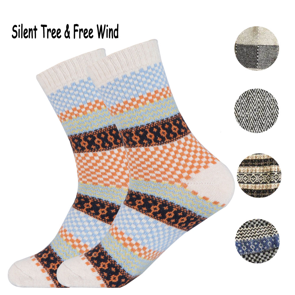 Winter Vintage Men Wool Socks Retro Classical Male Plaid Striped Patchwork Wave Patterned Thermal Warm Business Dress Crew Sock