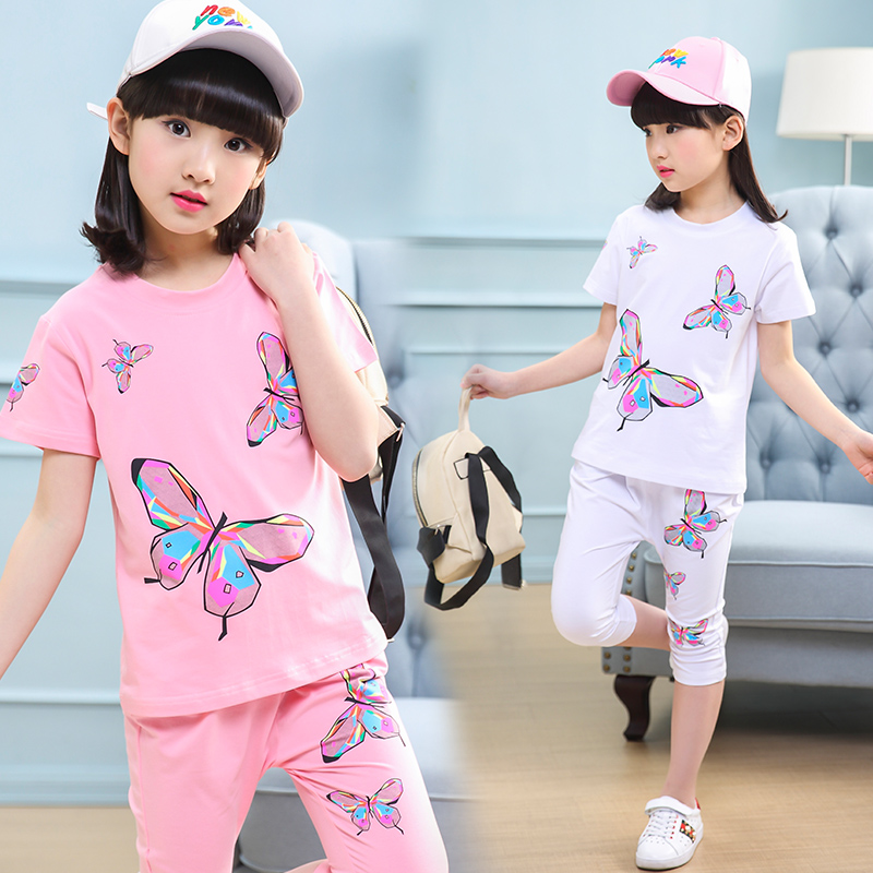 New Baby Girls Clothes summer 2018 Suit short Sleeve Heart Print T-shirt+Pant 4-13Yrs 2pcs Set Girls Outfit Kids Infant Clothing summer 2017 newborn baby boy clothes short sleeve cotton t shirt tops geometric pant 2pcs outfit toddler baby girl clothing set
