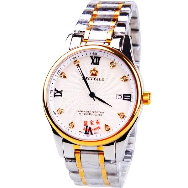 6abe9193657 Coroa de Cristal de Safira Hight Grau do Homem Relógios De Luxo Da Marca  Masculina de Quartzo Relógios de Ouro Aço Vestido Relógios Homem de  Negócios ...