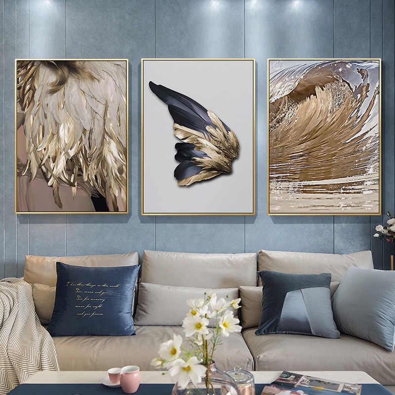 Modern Nordic Abstract Art Golden Feather Poster Print Canvas Painting Picture Aisle Home Wall Art Decoration Can Be Customized