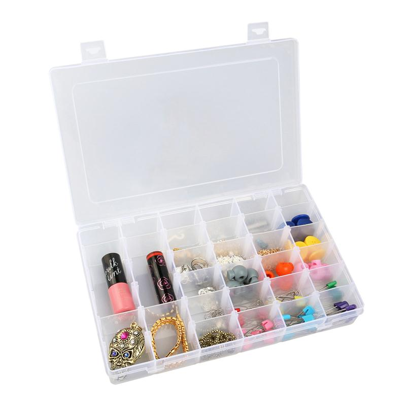 OUNONA Portable 36-Grid Clear Hard Plastic Adjustable Jewelry Organizer Box Storage Container Case with Removable Dividers