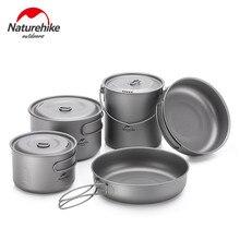 Naturehike Сверхлегкая уличная кухонная посуда для походов титановая сковорода Складная портативная для пикника кухонная титановая кастрюля Походное оборудование