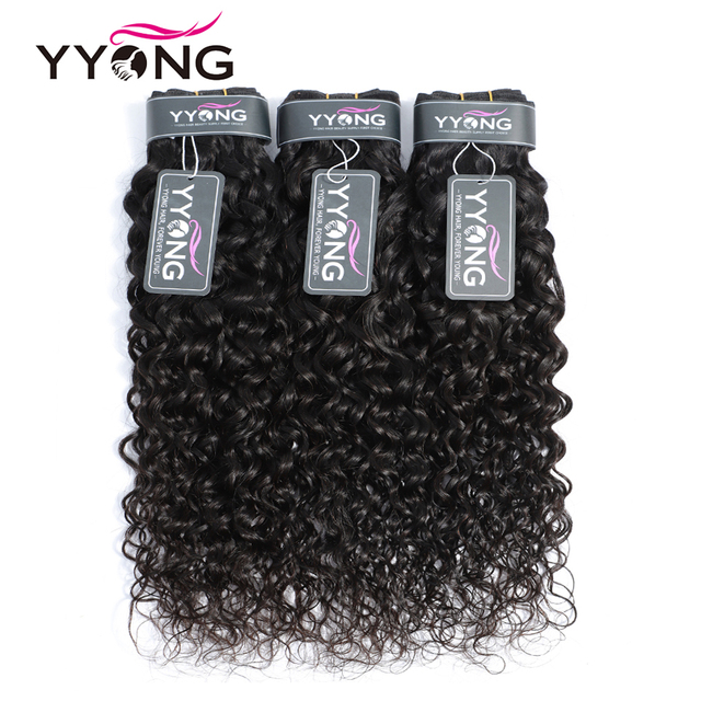 Yyong 3 Bundle Deals Brazilian Hair Weave Bundles Water Wave Hair Extensions Natural Color Can Be Dyed 100% Human Hair Non Remy